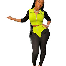 Green & Black Zip Front Sport Pants Sets BLX7356