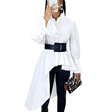 White Flounce Cuff Self-belted Shirt Dress with Asymmertical Hem Trim Bottom SMR9549