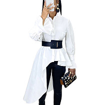 White Flounce Cuff Self-belted Shirt Dress with Asymmertical Hem Trim Bottom SMR9549