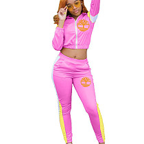 Pink Zip Front Stripes Side Print Blouse & Pants Set QQ5157