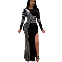 Black Sequined Striped Details Splite Long Dress K8882