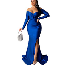 Blue Shining Off Shoulder Split Bottom Long Dress AL071
