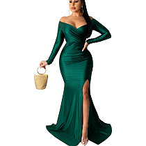 Mint Green Shining Off Shoulder Split Bottom Long Dress AL071