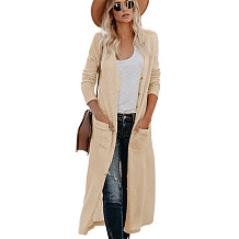 Apricot Double Layer Full Knell Long Coat with Patched Pocket WY6630