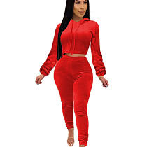 Red Nylon Hoodie Pleated Cuff Blouse & Pants Set  SH7166