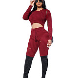 Black Round Neck Shear Texture Fleece Midriff Blouse & Skinny Pants Set LY5806
