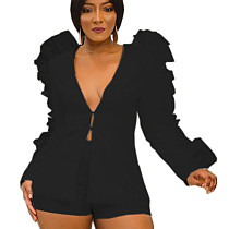 Black Plunging Neck Short Set with Pleated Bishop Sleeve LY5812