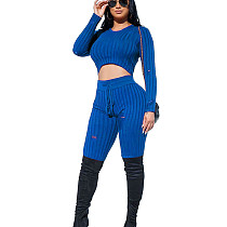 Blue Round Neck Shear Textur Fleece Midriff Bluse & Skinny Pants Set LY5806