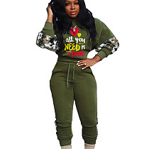 Green Letter Print Self tied Sport Pants Set HY5129