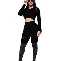 Black Round Neck Shear Textur Fleece Midriff Bluse & Skinny Pants Set LY5806