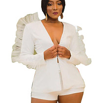 White Plunging Neck Short Set with Pleated Bishop Sleeve LY5812