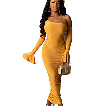 Mustard Yellow Lady's One Shoulder Skinny Long Dress with Flounce Cuff WJ5068