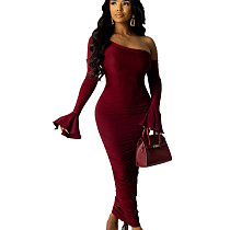 Wine Red Lady's One Shoulder Skinny Long Dress with Flounce Cuff WJ5068
