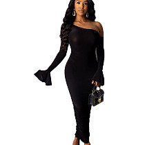 Black Lady's One Shoulder Skinny Long Dress with Flounce Cuff WJ5068