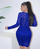 Blue Plunging Neck Embroidered Shoulder Bodycon Dress HH8906