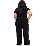 Black Criss-Cross Front Short Sleeve Jumpsuit with Loose Pants OMY8015