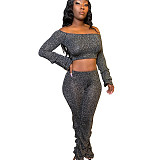 Gray Sequined Off Shoulder Wrinkled Cuff Midriff Blouse & Pants with Pleated Bottom N9194
