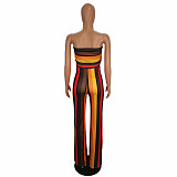 Constract Colors Tops with Narrow Jumpsuit SH7902
