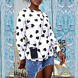 White Heart Pattern Print Shirred Cuff T Shirt QQM3945