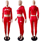 Red Hooded Two-Piece Sport Pants Set with front logo print LS6079