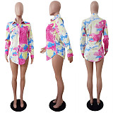 Pink mixed color long sleeve women's shirts  with front patched pokect LS6015