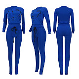 Blue round neck long sleeve front logo printed t-shirt & pants set ED8166