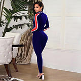 Navy Blue velet front zipper long selleve bodycon jumpsuit F8060