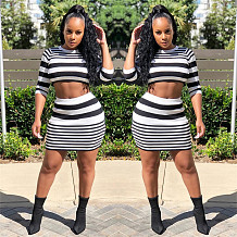 White&Black zebra stripe cropped sleeve midriff blouse and short dress set LS8029
