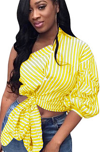 Yellow stripes asymmertical shoulder front self-tie shirt blouse QQM3972