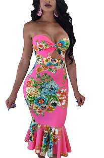 Pink collarless hollow out floral print pleated bottom bodycon dress QQM3971
