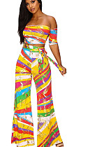 Rainbow stripes print bandeau and loose wide pants with self-tied Q5016