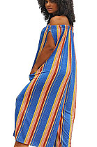 Orange mixed color stripes off shoulder wide leg jumpsuit F8126