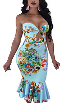 Light blue collarless hollow out floral print pleated bottom bodycon dress QQM3971