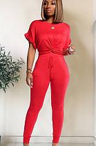 Red roll up shoulder front twist hem matching set TRS1003