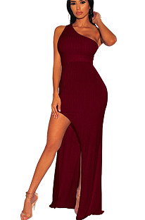 Wine red one shoulder side slit long dress SMR9494