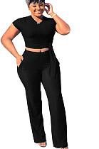 Black T-shirt blouse & Pants set SMR9558