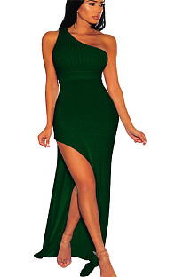 Green one shoulder side slit long dress SMR9494