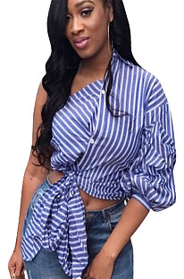 Blue stripes asymmertical shoulder front self-tie shirt blouse QQM3972