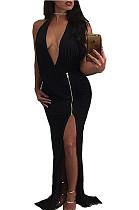 فستان سهرة أسود بفتحة جانبية BN9023