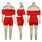 Red off shoulder top & self-tied pants set QQM3981