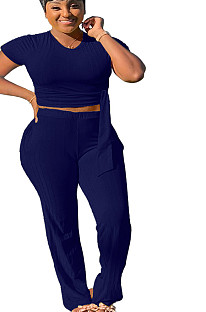 Navy blue T-shirt blouse & Pants set SMR9558