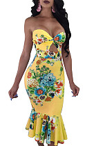 Yellow collarless hollow out floral print pleated bottom bodycon dress QQM3971