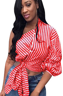 Red stripes asymmertical shoulder front self-tie shirt blouse QQM3972