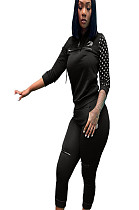 Black hooded cropped polka dot print sleeve blouse and pants set with front logo print detail S6228