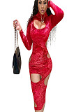 Red Pleuche Hollow Out Skiny Bodycon Dress AFY682