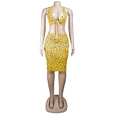 Yellow leopard print knot front top & skinny knee length dress set AL074