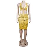 Κίτρινο παντελόνι λεοπάρ κόμπο εμπρός & κοκαλιάρικο σετ φόρεμα με γόνατο AL074