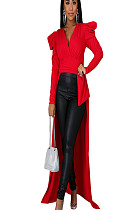Red V Neck Ruffle Trim Split Swallow tailed Blouse YZ2115