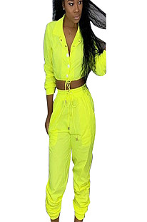 Yellow slash neck midriff with self-tie and pleated bottom pants LS6235
