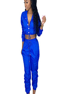 Blue slash neck midriff with self-tie and pleated bottom pants LS6235